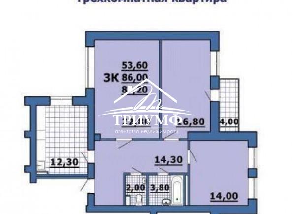 3-комнатная квартира 90 кв.м. в новом доме на пр. 200 лет!