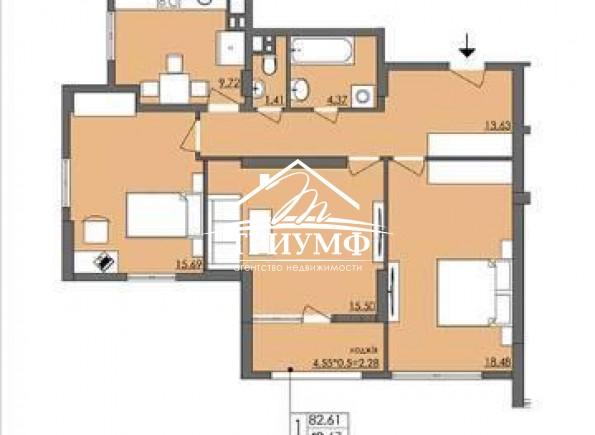 Без комиссии! 3-комнатная квартира в новом доме по улице Филатова!