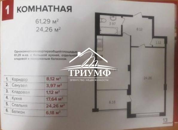 1-комнатная квартира площадью 61 кв.м. по проспекту Сенявина!